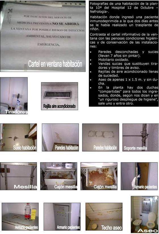 Estado de las habitaciones de la planta 10ª en el Hospital 12 de Octubre de Madrid